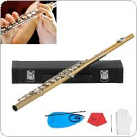 Gold 16 Holes CKey Flute Cupronickel Body Silver Keys with Storage Leather Box Cleaning Cloth Stick Gloves Etc