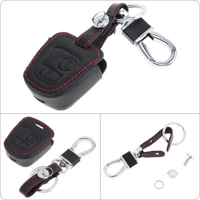 2 Buttons 3D Leather Car Key Cover Protector Holder with Hanging Buckle Fit for Peugeot 206 207 307 / Elysee / Citroen C1 C2 C3 C4 Xsara Picasso 2000-2009