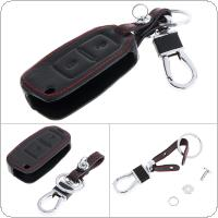 2 Buttons 3D Leather Car Key Cover Protector Holder with Hanging Buckle for Volkswagen BORA MK4 / Amarok Pick Up Truck