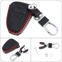 3 Buttons 3D Hand Sewed Leather Car Key Cover Protector Holder with Hanging Buckle Fit for Chrysler / Dodge / Jeep 2005-2012 5 Buttons