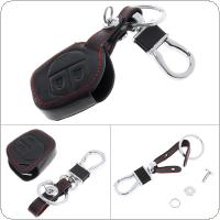 2 Buttons 3D Leather Car Key Cover Protector Holder with Hanging Buckle Fit for SUZUKI SWIFT SX4 Alto IGNIS Splash 2007-2013