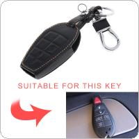 5 Buttons 3D Leather Car Key Cover Protector Holder with Hanging Buckle Fit for Volkswagen / Jeep / Chrysler 2 Buttons 3 Buttons