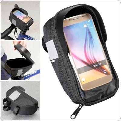 Bicycle Handlebar Bag 4.7-6.2inch Touchscreen Phone Mount Holder MTB Road Bike Front Frame Bag with Sun Visor