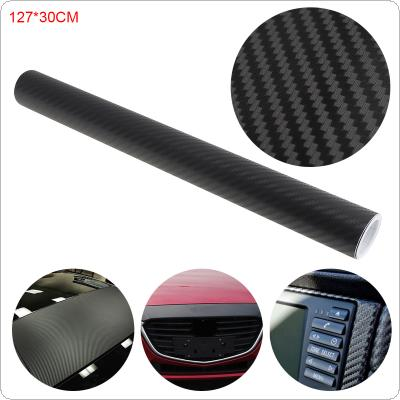 Black 30 x 127 CM 3D PVC Carbon Fiber Any Clipping Thickening Decoration Stickers for Car / Motorcycle / Electronic Product / Home