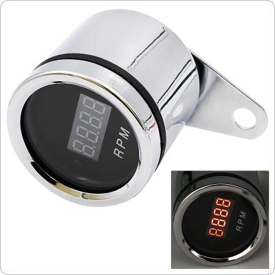 12V Waterproof Chromium Plating Safety Modification Digital Tachometer Tacho Gauge with LED Backlight for Motorcycle