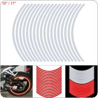 2 Colors 18pcs PVC Car Motorcycle Hub Steel Tire Rim Reflector Refit Sticker for 10 Inch ~17 Inch Tire