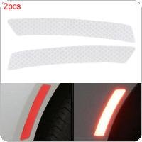2 Colors 14 x 2.3 CM 2pcs Crystal Lattice PVC Car Wheel Eyebrow Reflective Warning Front Bumper Rear / Collision Avoidance Sticker