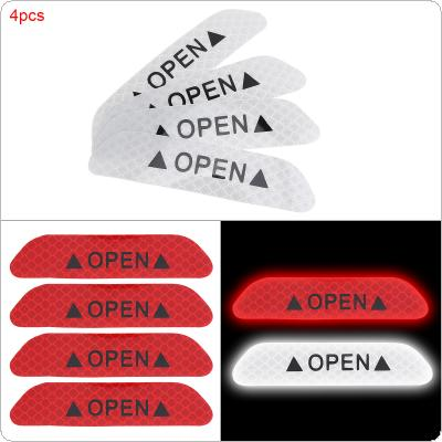 3 Colors 4pcs 9.3 x 2 CM Universal Crystal Lattice Reflective Open Safety Warning Mark Car Door Sticker