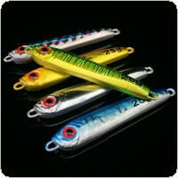 5pcs/lot Jigging Fishing Spoon Iron Lead Lures Plate Long Shot 25g 3D Eyes Laser Artificial Bait Boat Fishing Lures