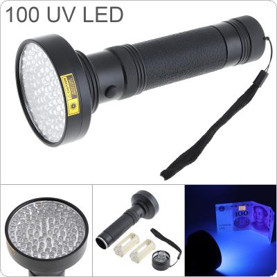395nm Aluminum Alloy UV 100 LED Violet Multi-function Flashlight Support 6 x AA Batteries for Fluorescent Agent Detection