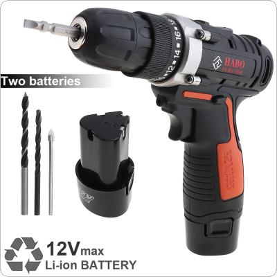 AC 100 - 240V Cordless 12V Electric Drill / Screwdriver with 2 Li-ion Batteries and Two-speed Adjustment Button for Handling Screws / Punching