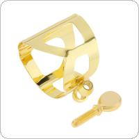 Alto Saxophone Mouthpiece Ligature Gold-plated Brass Ligature Fastener for Rubber Mouthpiece