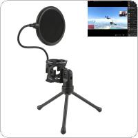 Microphone Desktop Stand Microphone Shockproof Tripod Blowout Net for Broadcast / Speech