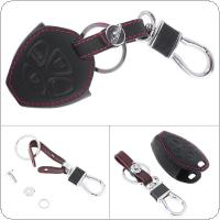 4 Buttons 3D Leather Car Key Cover Protector Holder with Hanging Buckle Fit for Toyota RAV4 / Camry 2006-2010 / Corolla / Toyota 3 Buttons