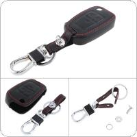 3 Buttons 3D Black Leather + Zinc Alloy Keychain Car Key Cover Protector Holder with Hanging Buckle for Opel