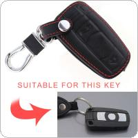 3 Buttons 3D Leather Car Key Cover Protector Holder with Hanging Buckle Fit for BMW CAS3 System X5 X6 Z4 1 / 3 / 5 / 6 / 7 Series Vehicle Smart Key 2002-2013