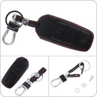 3 Buttons 3D Leather Car Key Cover Protector Holder with Hanging Buckle Fit for VW Passat B6 3C B7 Magotan CC 2006-2011