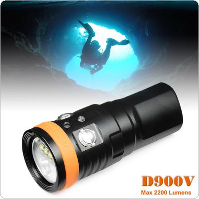 D900V Waterproof 2200 Lumens LED Diving Flashlight with Underwater 150m and Shock Resistant for Professional Diving