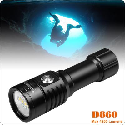 D820V CREE XM-L2 LED 1600 Lumens Underwater 150m Rechargeable Diving Flashlight with Shock Resistant for Professional Diving