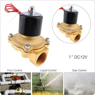 1'' DC 12V Normally Closed Type Aluminum Alloy Electric Solenoid Valve with Two-position and 1'' Pipe Interface for Water / Oil / Gas