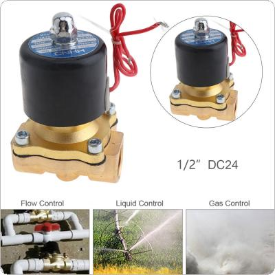 1/2'' DC 24V Brass Electric Solenoid Valve with Two-way Two-position and 1/2'' Pipe Interface for Water / Oil / Gas