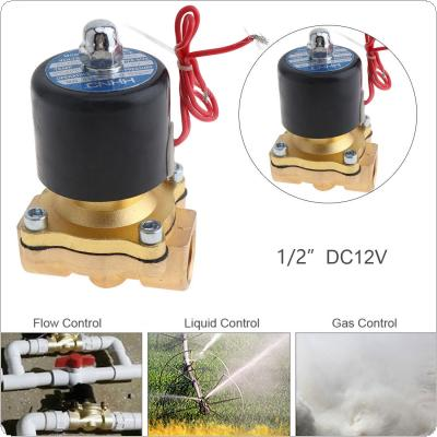 1/2'' DC 12V Brass Electric Solenoid Valve with Two-way Two-position and 1/2'' Pipe Interface for Water / Oil / Gas