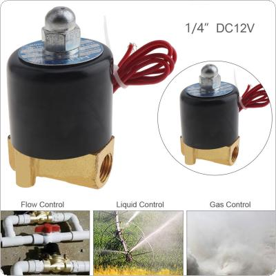 1/4'' DC 12V Normally Closed Type Aluminum Alloy Electric Solenoid Valve with Two-position and 1/4'' Pipe Interface for Water / Oil / Gas