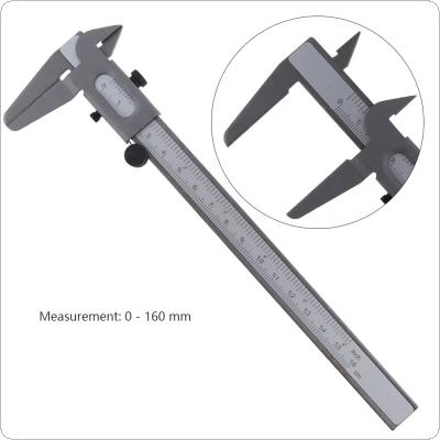 160mm Mini Carbon Steel Vernier Caliper Ruler with 0.1mm / 0.063in Accuracy and Sliding Wheel for Measuring