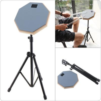 8 Inch Rubber Wooden Dumb Drum Practice Training Drum Pad with Stand