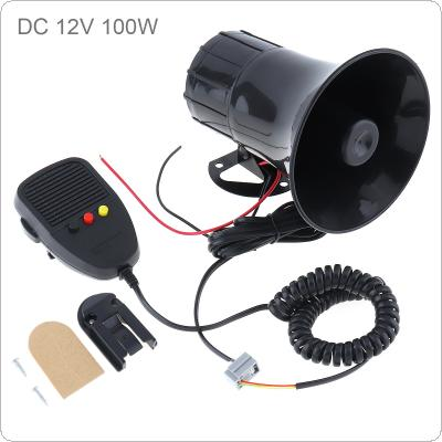 12V 100W 3 Sounds Car Electronic Warning Siren Motorcycle Alarm Firemen Ambulance Loudspeaker with MIC