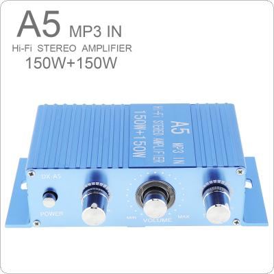 A15 DC12V 2.0 Two Channel MP3 in Hi-Fi Stereo Amplifier 150W + 150W with 3.5AUX Interface for Car / MP3 / PC / CD / Speakers / Subwoofer