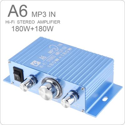 A6 DC12V 2.0 Two Channel MP3 in Hi-Fi Stereo Amplifier 180W + 180W with 3.5AUX Interface for Car / PC / Speakers / CD / Motorcycle / Subwoofer
