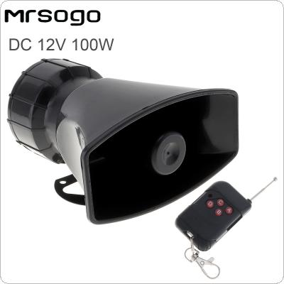 12V 100W 7 Sounds Loud Car Warning Alarm Police Fire Siren Horn Speaker with  Remote Controller