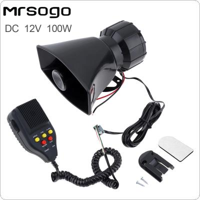 100W 12V 7 Sounds Car Electronic Warning Siren Motorcycle Alarm Firemen Ambulance Loudspeaker support MIC and Record