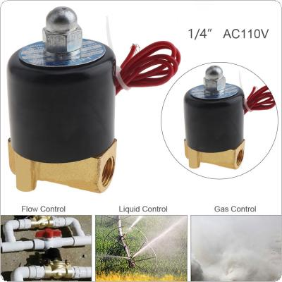 1/4'' AC 110V Normally Closed Type Aluminum Alloy Electric Solenoid Valve with Two-position and 1/4'' Pipe Interface for Water / Oil / Gas