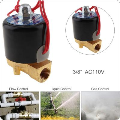 3/8'' AC 110V Normally Closed Type Aluminum Alloy Electric Solenoid Valve with Two-position and 3/8'' Pipe Interface for Water / Oil / Gas