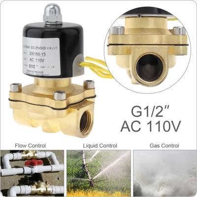 1/2'' AC 110V Brass Electric Solenoid Valve with Two-way Two-position and 1/2'' Pipe Interface for Water / Oil / Gas