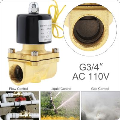 3/4'' AC 110V Normally Closed Type Aluminum Alloy Electric Solenoid Valve with Two-position and 3/4'' Pipe Interface for Water / Oil / Gas