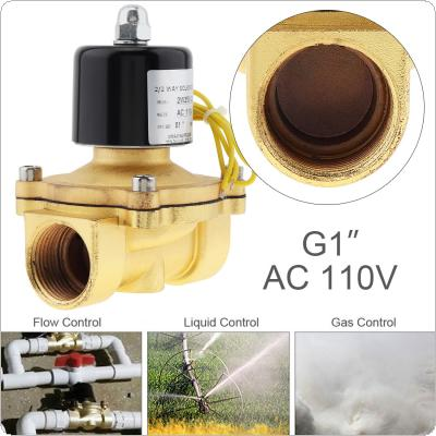 1'' AC 110V Normally Closed Type Aluminum Alloy Electric Solenoid Valve with Two-position and 1'' Pipe Interface for Water / Oil / Gas