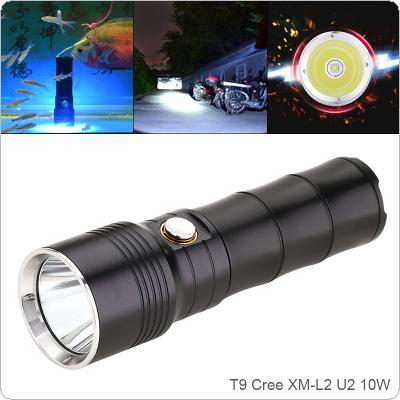 10W T9 960 Lumens XM-L2 U2 LED Aluminum Alloy Light Flashlight Waterproof IP68 2 Meters Underwater with 6 Modes for Camping / Hunting / Night Riding