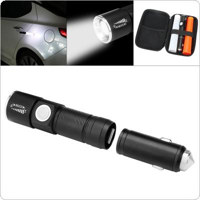 350Lumens 3W 3 Modes Light Multi-function Mini Zoom Flashlight Rechargeable with Car Charger and Safety Hammer for Camping / Hiking / Hunting