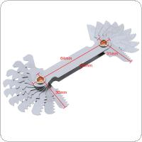 20pcs/set Imperial Stainless Steel Thread Gauge 55 Degree Screw Pitch Gauge with 4-48 Blades Range for Industrial Measurement