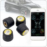 4pcs Smart Car TPMS Bluetooth 4.0 Tyre Tire Second Generation Pressure Monitoring System APP Display External Sensors Support Android IOS with Wrench