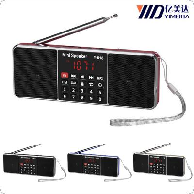 Portable Mini Y-618 AM / FM Radio Rechargeable LCD Display Supports TF Card for Old People
