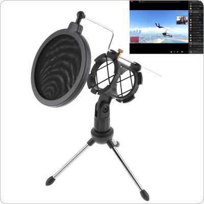 Metal Microphone Stand Tripod with Microphone Wind Rack for Meeting / Singing / Speech