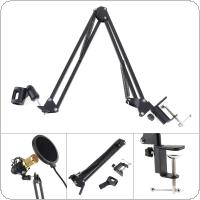 Black NB-35 Microphone Scissor Arm Stand Mic Clip Holder with Desktop Alloy Base Clamp for KTV / Studio
