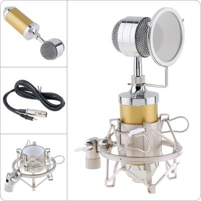 Professional BM 8000 Sound Studio Recording Condenser Microphone with 3.5mm Plug Stand Holder and Gold-plated Large Diaphragm Head for Audio Recording / KTV