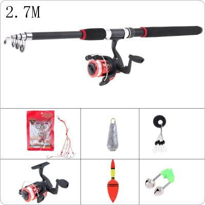 2.7m Fishing Rod Reel Line Combo Full Kits Spinning Reel Pole Set with Fishing Float Hooks Beads Bell Lead weight