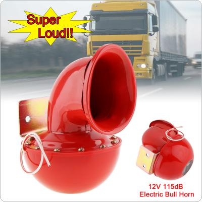 8A 12V 115dB 175Hz Red Metal Electric Bull Horn Super Loud Raging Sound for Car Motorcycle Truck Boat