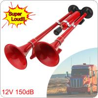 12 - 24V 150dB Super Loud Dual Trumpet Electrically Controlled Air Horn with Gas Tank for Truck Lorry Boat Train